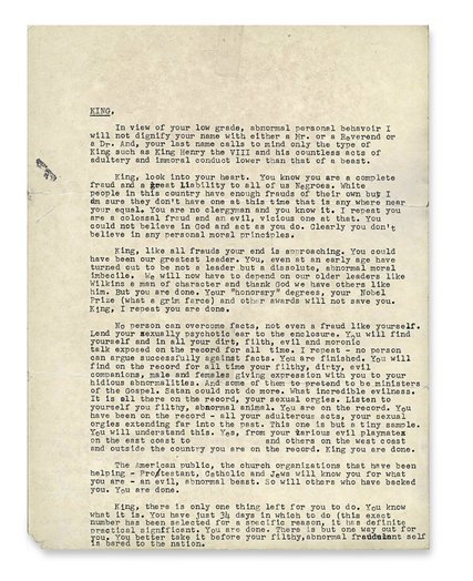 "FBI's ""Suicide Letter"" to Dr. King"