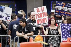9/11 conspiracy theorists independent researchers protest outside the World Trade Center in 2011