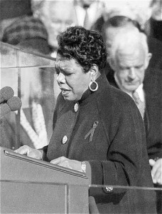 "Maya Angelou reciting her poem, ""On the Pulse of Morning"", at President Bill Clinton's inauguration in 1993."